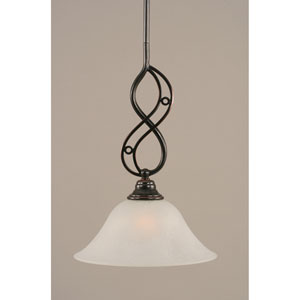 Jazz Black Copper One-Light Mini Pendant with 10-Inch White Marble Glass Shade