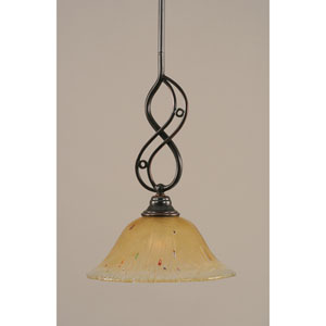 Jazz Black Copper One-Light Mini Pendant with 10-Inch Amber Crystal Glass Shade