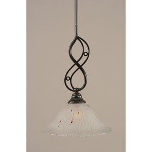 Jazz Black Copper One-Light Mini Pendant with 10-Inch Frosted Crystal Glass Shade