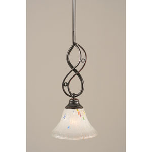 Jazz Black Copper One-Light Mini Pendant with 7-Inch Frosted Crystal Glass Shade