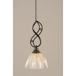 Jazz Black Copper One-Light Mini Pendant with 7-Inch Gold Ice Glass Shade