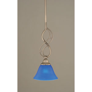 Jazz Brushed Nickel One-Light Mini Pendant with 7-Inch Blue Italian Glass Shade
