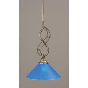 Jazz Brushed Nickel Mini Pendant with Blue Italian Glass