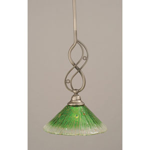 Jazz Brushed Nickel Mini Pendant with Kiwi Green Crystal Glass