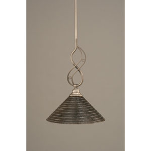 Jazz Brushed Nickel One-Light Mini Pendant with 12-Inch Charcoal Spiral Glass Shade