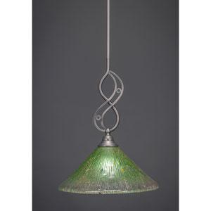 Jazz Brushed Nickel Mini Pendant with Kiwi Green Crystal Glass