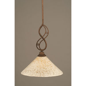 Jazz Bronze One-Light Mini Pendant with 12-Inch Gold Ice Glass Shade