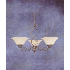 Jazz Bronze Three-Light Chandelier with Amber Marble Glass