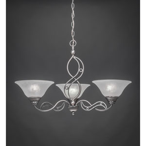 Jazz Brushed Nickel Three-Light Chandelier with White Marble Glass