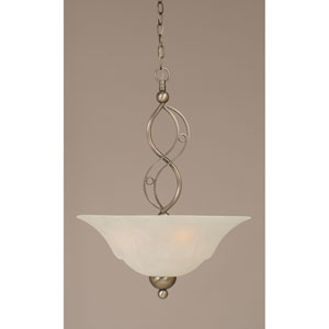 Jazz Brushed Nickel Three-Light Pendant with White Marble Glass