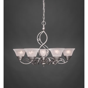 Jazz Brushed Nickel Five-Light Chandelier with White Marble Glass