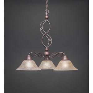 Jazz Bronze Three-Light Downlight Chandelier with Amber Marble Glass