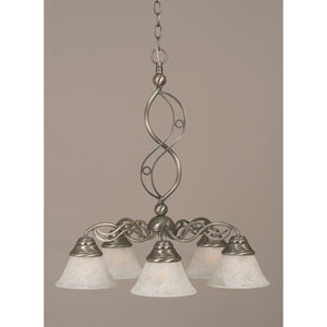 Jazz Brushed Nickel Five-Light Downlight Chandelier with White Marble Glass