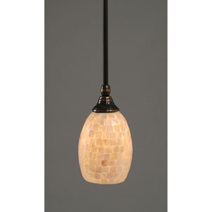 Black Copper One-Light Mini Pendant with Seashell Glass
