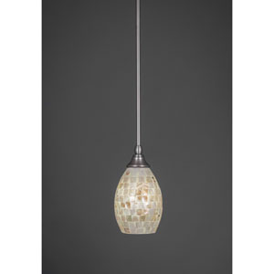 Brushed Nickel Stem Mini Pendant with Seashell Glass