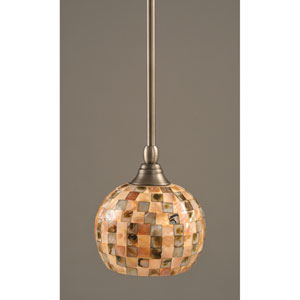 Brushed Nickel One-Light Mini Pendant with Seashell Glass
