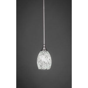 Brushed Nickel Stem Mini Pendant with 5-Inch Black Fusion Glass