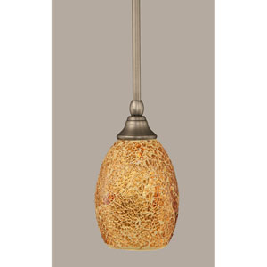 Brushed Nickel Stem Mini Pendant with 5-Inch Gold Fusion Glass