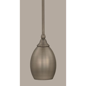 Brushed Nickel 5-Inch One Light Mini Pendant with Brushed Nickel Oval Metal Shade