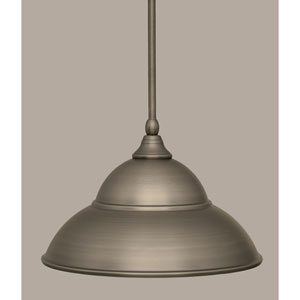 Brushed Nickel 13-Inch One Light Mini Pendant with Brushed Nickel Double Bubble Metal Shade
