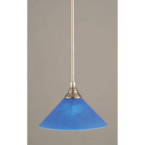 Brushed Nickel One-Light Mini Pendant with Blue Italian Glass