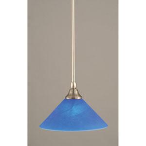 Brushed Nickel One-Light Mini Pendant with Blue Italian Glass
