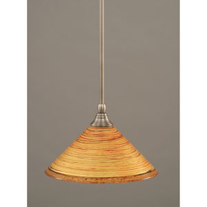 Brushed Nickel One-Light Mini Pendant with Firre Saturn Glass