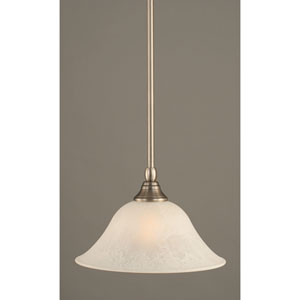 Brushed Nickel One-Light Mini Pendant with White Marble Glass