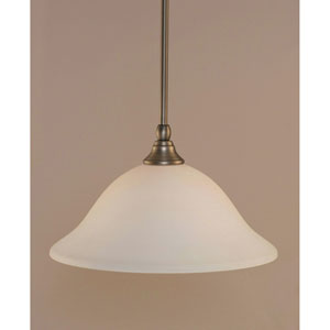 Brushed Nickel One-Light Stem Mini Pendant w/ 12-Inch White Linen Glass