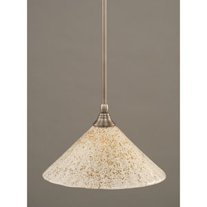 Brushed Nickel One-Light Mini Pendant with Gold Ice Glass