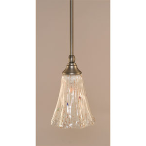 Brushed Nickel One-Light Stem Mini Pendant w/ 5.5-Inch Frosted Crystal Glass