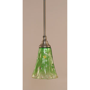 Brushed Nickel One-Light Stem Mini Pendant w/ 5.5-Inch Kiwi Green Crystal Glass