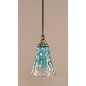Brushed Nickel One-Light Stem Mini Pendant w/ 5.5-Inch Teal Crystal Glass