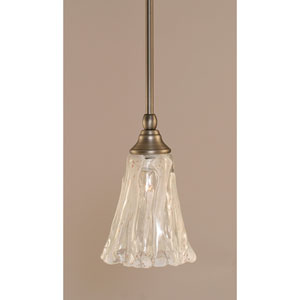 Brushed Nickel One-Light Stem Mini Pendant w/ 5.5-Inch Italain Ice Glass