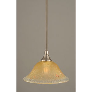 Brushed Nickel One-Light Mini Pendant with Amber Crystal Glass