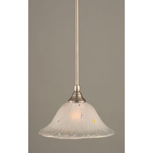 Brushed Nickel One-Light Mini Pendant with Frosted Crystal Glass