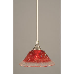 Brushed Nickel One-Light Mini Pendant with Raspberry Crystal Glass