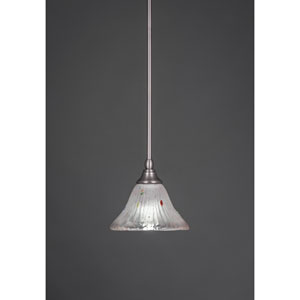 Brushed Nickel Stem Mini Pendant with Frosted Crystal Glass