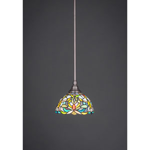 Brushed Nickel Stem Mini Pendant with 7-Inch Kaleidoscope Tiffany Glass