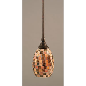Bronze One-Light Mini Pendant with Seashell Glass
