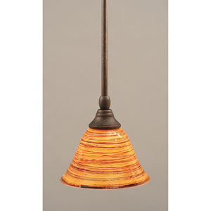 Bronze One-Light Mini Pendant with Firre Saturn Glass