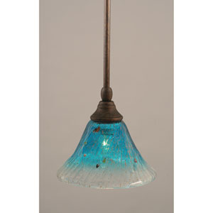 Bronze One-Light Mini Pendant with Teal Crystal Glass