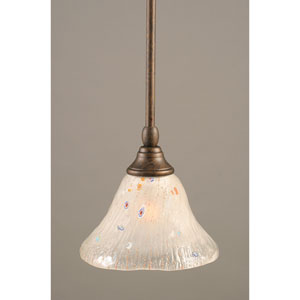 Bronze One-Light Mini Pendant with Frosted Crystal Glass