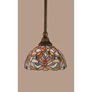 Bronze Stem Mini Pendant with 7-Inch Kaleidoscope Tiffany Glass