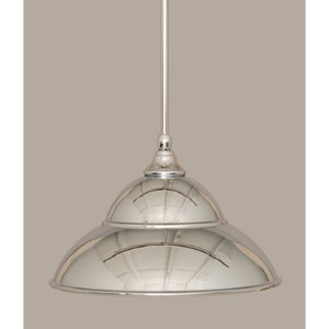 Chrome 13-Inch One Light Mini Pendant with Chrome Cone Metal Shade