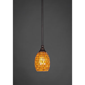 Dark Granite One-Light Stem Mini Pendant w/ 5-Inch Mosaic Glass