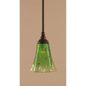 Dark Granite One-Light Stem Mini Pendant w/ 5.5-Inch Kiwi Green Crystal Glass