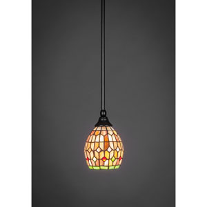 Matte Black Stem Mini Pendant with 5.5-Inch Rosetta Tiffany Glass