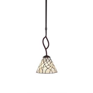 Revo Dark Granite One-Light Mini Pendant with Sandhill Tiffany Glass