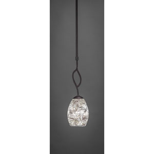 Revo Dark Granite One-Light Mini Pendant with Natural Fusion Glass